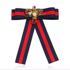 Handmade Cloth Bee Striped Woven Bow Tie Brooch
